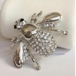 Silver Bumble Bee Pin Brooch Crystal Insect